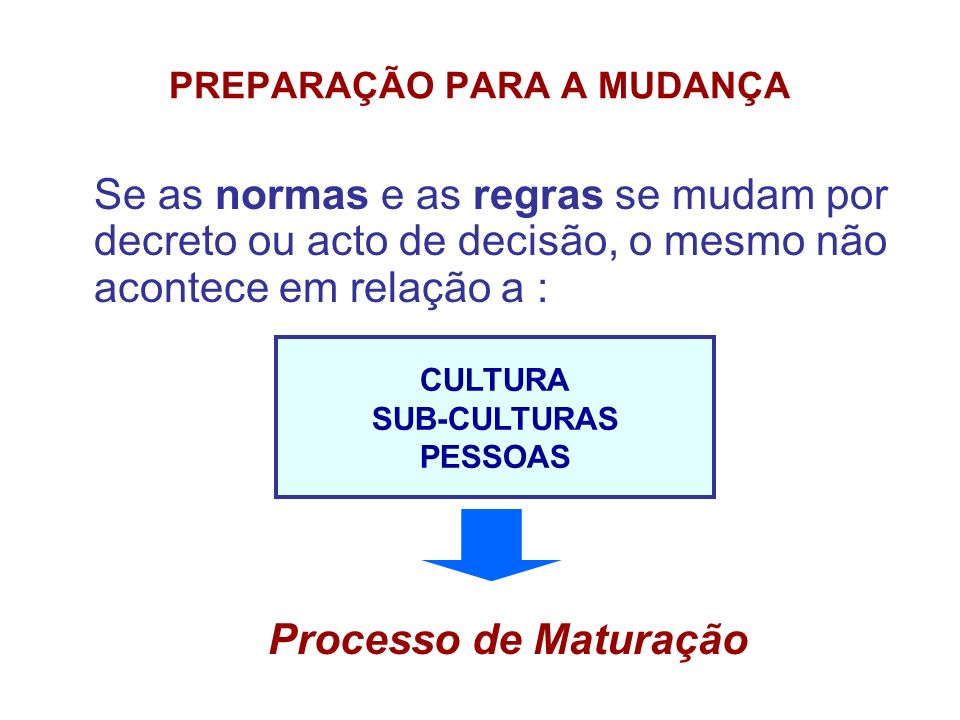 PREPARAÇÃO PARA A MUDANÇA Se as normas e as regras se mudam por decreto ou acto de decisão, o mesmo não acontece em relação a : CULTURA SUB-CULTURAS P