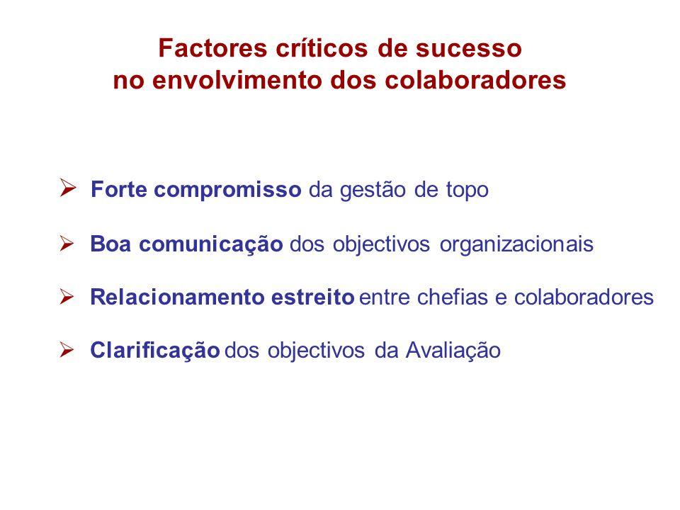 Factores críticos de sucesso no envolvimento dos colaboradores Forte compromisso da gestão de topo Boa comunicação dos objectivos organizacionais Rela