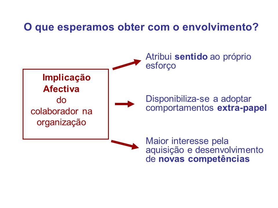 O que esperamos obter com o envolvimento? Implicação Afectiva do colaborador na organização Atribui sentido ao próprio esforço Disponibiliza-se a adop