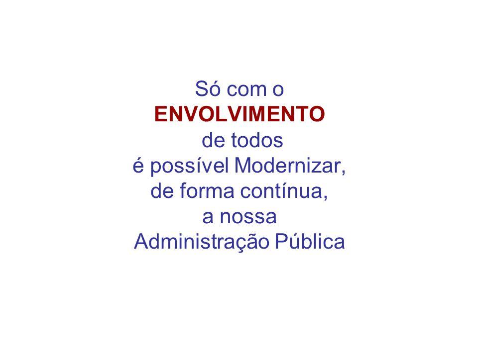 Só com o ENVOLVIMENTO de todos é possível Modernizar, de forma contínua, a nossa Administração Pública