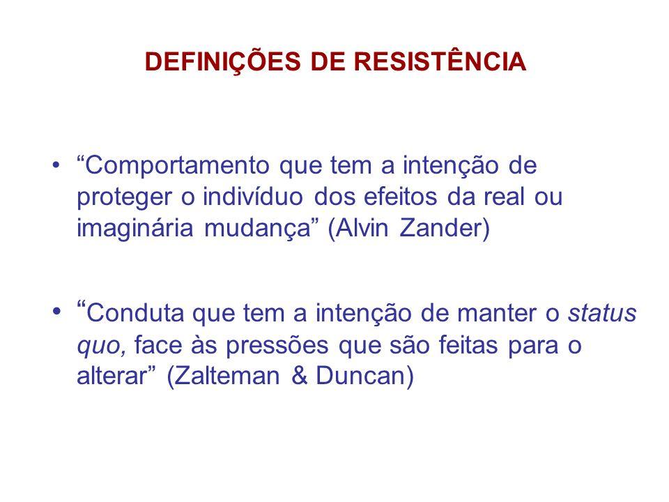 DEFINIÇÕES DE RESISTÊNCIA Comportamento que tem a intenção de proteger o indivíduo dos efeitos da real ou imaginária mudança (Alvin Zander) Conduta qu