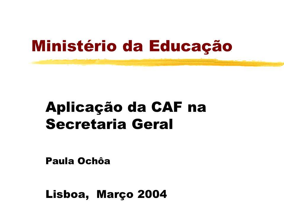 Ministério da Educação Aplicação da CAF na Secretaria Geral Paula Ochôa Lisboa, Março 2004