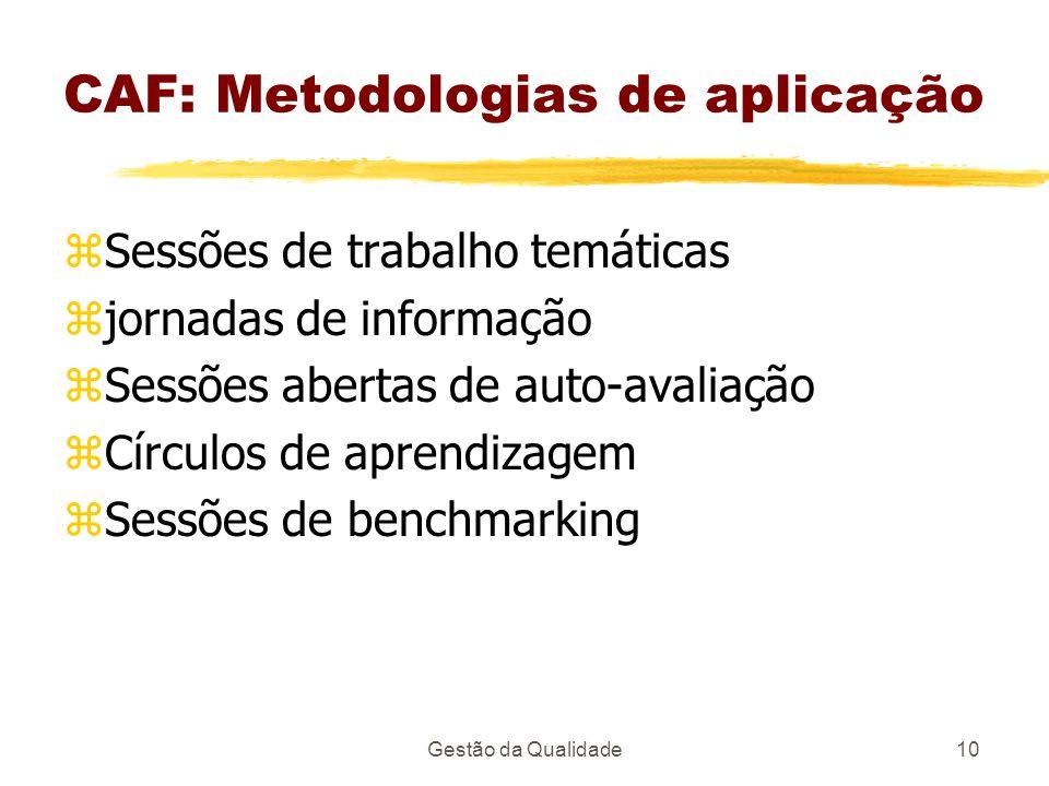 Gestão da Qualidade10 CAF: Metodologias de aplicação zSessões de trabalho temáticas zjornadas de informação zSessões abertas de auto-avaliação zCírcul