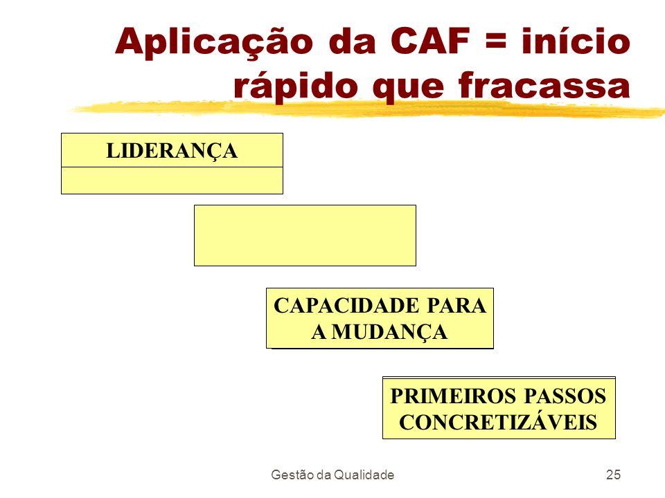 Gestão da Qualidade25 Aplicação da CAF = início rápido que fracassa LIDERANÇA CAPACIDADE PARA A MUDANÇA PRIMEIROS PASSOS CONCRETIZÁVEIS