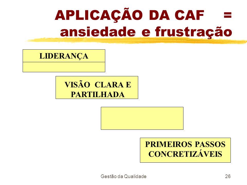 Gestão da Qualidade26 APLICAÇÃO DA CAF = ansiedade e frustração LIDERANÇA VISÃO CLARA E PARTILHADA PRIMEIROS PASSOS CONCRETIZÁVEIS