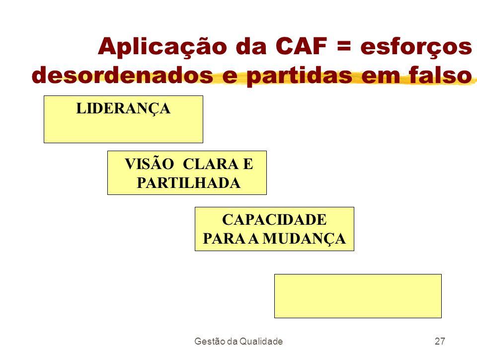 Gestão da Qualidade27 Aplicação da CAF = esforços desordenados e partidas em falso LIDERANÇA VISÃO CLARA E PARTILHADA CAPACIDADE PARA A MUDANÇA
