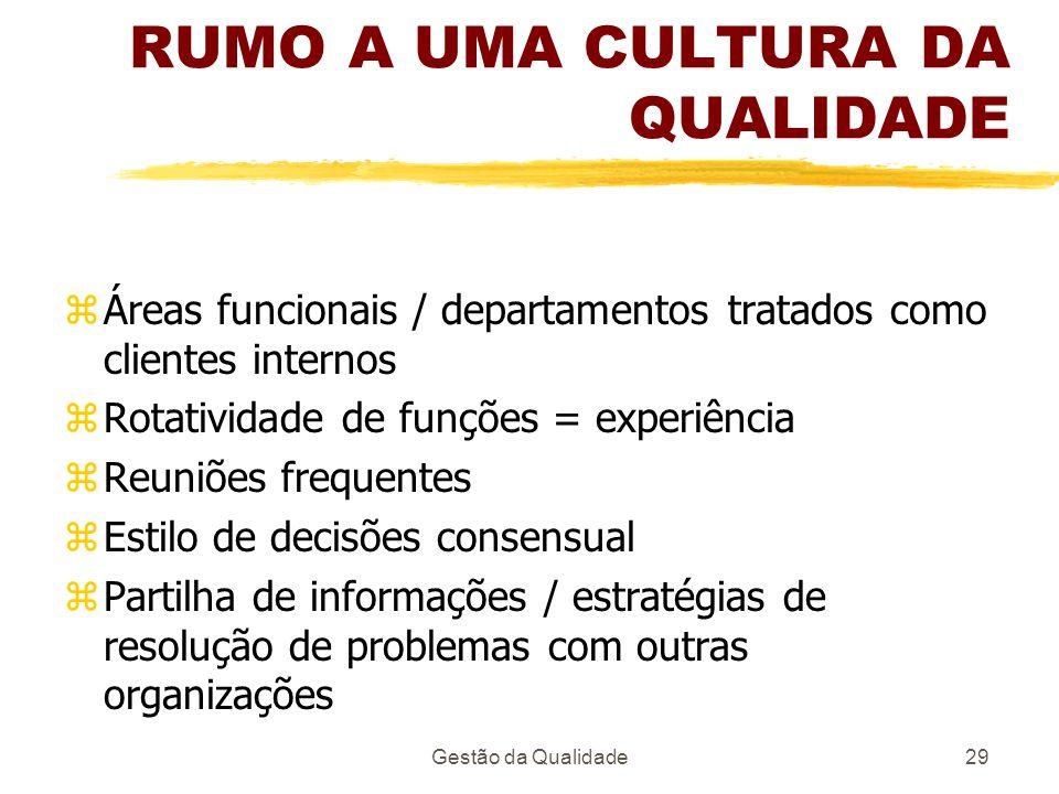 Gestão da Qualidade29 RUMO A UMA CULTURA DA QUALIDADE zÁreas funcionais / departamentos tratados como clientes internos zRotatividade de funções = exp