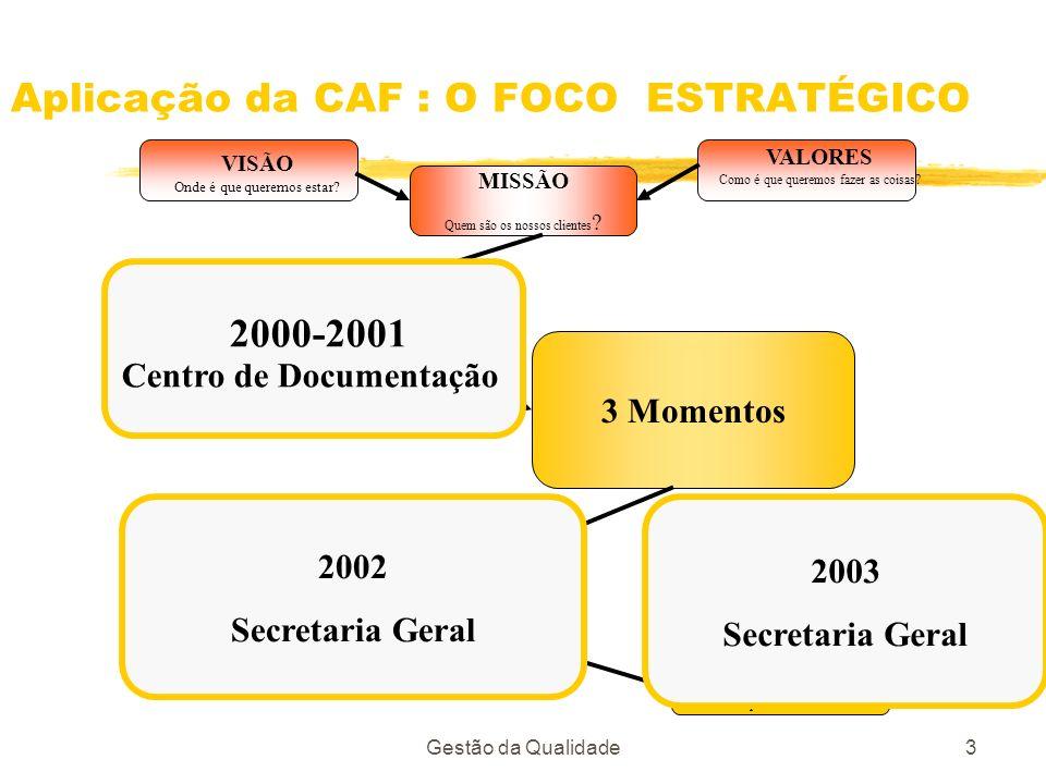 Gestão da Qualidade3 Aplicação da CAF : O FOCO ESTRATÉGICO VISÃO Onde é que queremos estar? VALORES Como é que queremos fazer as coisas? MISSÃO Quem s