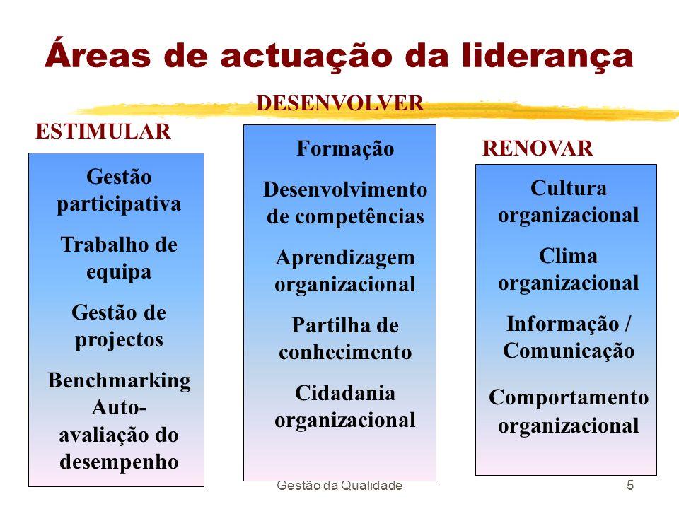 Gestão da Qualidade5 Áreas de actuação da liderança Gestão participativa Trabalho de equipa Gestão de projectos Benchmarking Auto- avaliação do desemp