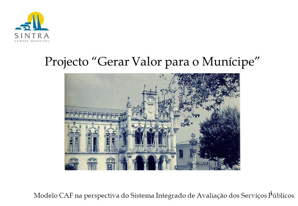 1 Projecto Gerar Valor para o Munícipe Modelo CAF na perspectiva do Sistema Integrado de Avaliação dos Serviços Públicos