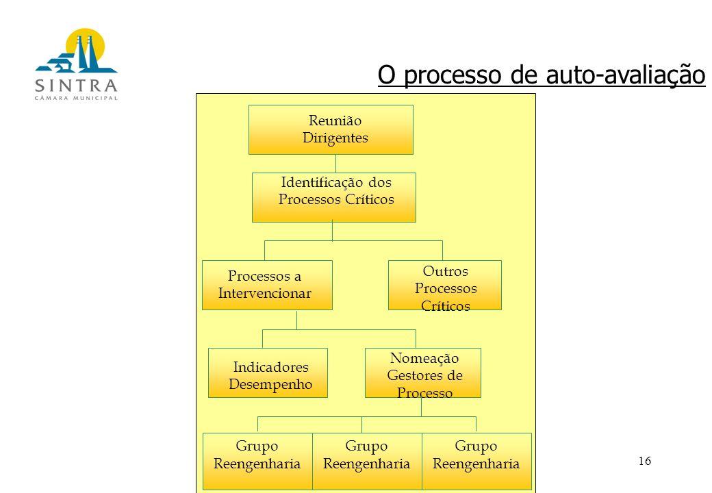 16 Reunião Dirigentes Identificação dos Processos Críticos Processos a Intervencionar Outros Processos Críticos Indicadores Desempenho Nomeação Gestores de Processo Grupo Reengenharia O processo de auto-avaliação