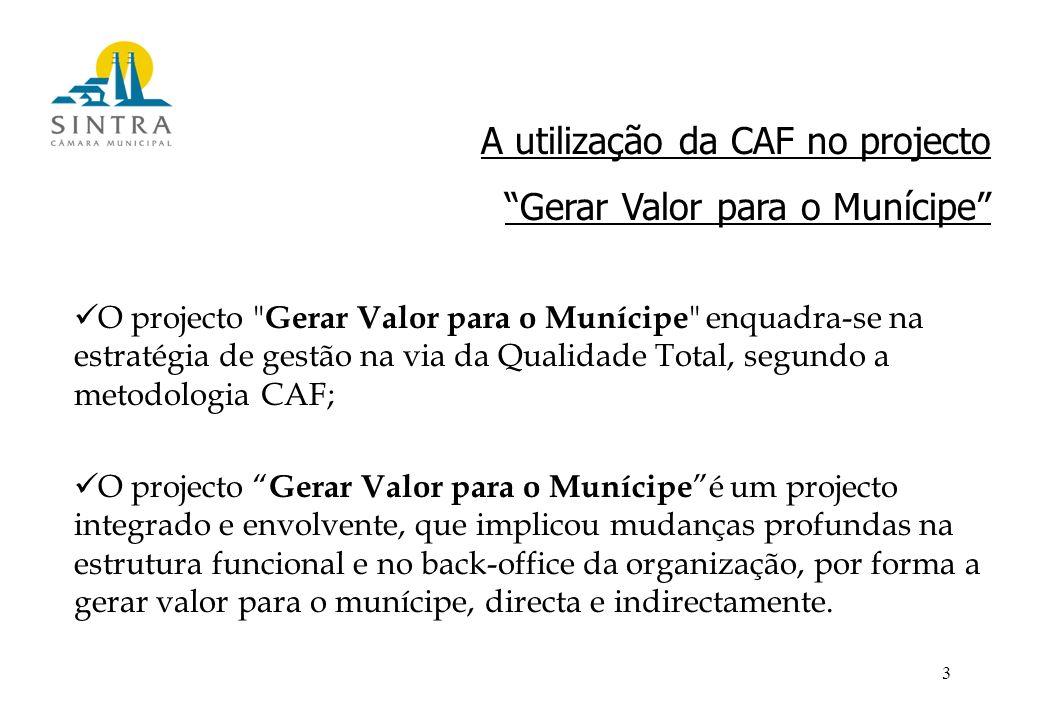 3 A utilização da CAF no projecto Gerar Valor para o Munícipe O projecto Gerar Valor para o Munícipe enquadra-se na estratégia de gestão na via da Qualidade Total, segundo a metodologia CAF; O projecto Gerar Valor para o Munícipe é um projecto integrado e envolvente, que implicou mudanças profundas na estrutura funcional e no back-office da organização, por forma a gerar valor para o munícipe, directa e indirectamente.