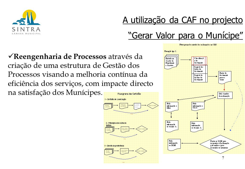 7 Reengenharia de Processos através da criação de uma estrutura de Gestão dos Processos visando a melhoria contínua da eficiência dos serviços, com impacte directo na satisfação dos Munícipes.