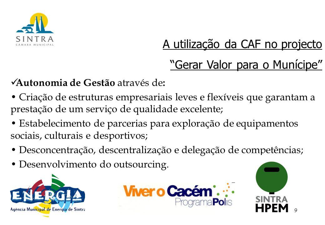 9 A utilização da CAF no projecto Gerar Valor para o Munícipe Autonomia de Gestão através de : Criação de estruturas empresariais leves e flexíveis que garantam a prestação de um serviço de qualidade excelente; Estabelecimento de parcerias para exploração de equipamentos sociais, culturais e desportivos; Desconcentração, descentralização e delegação de competências; Desenvolvimento do outsourcing.