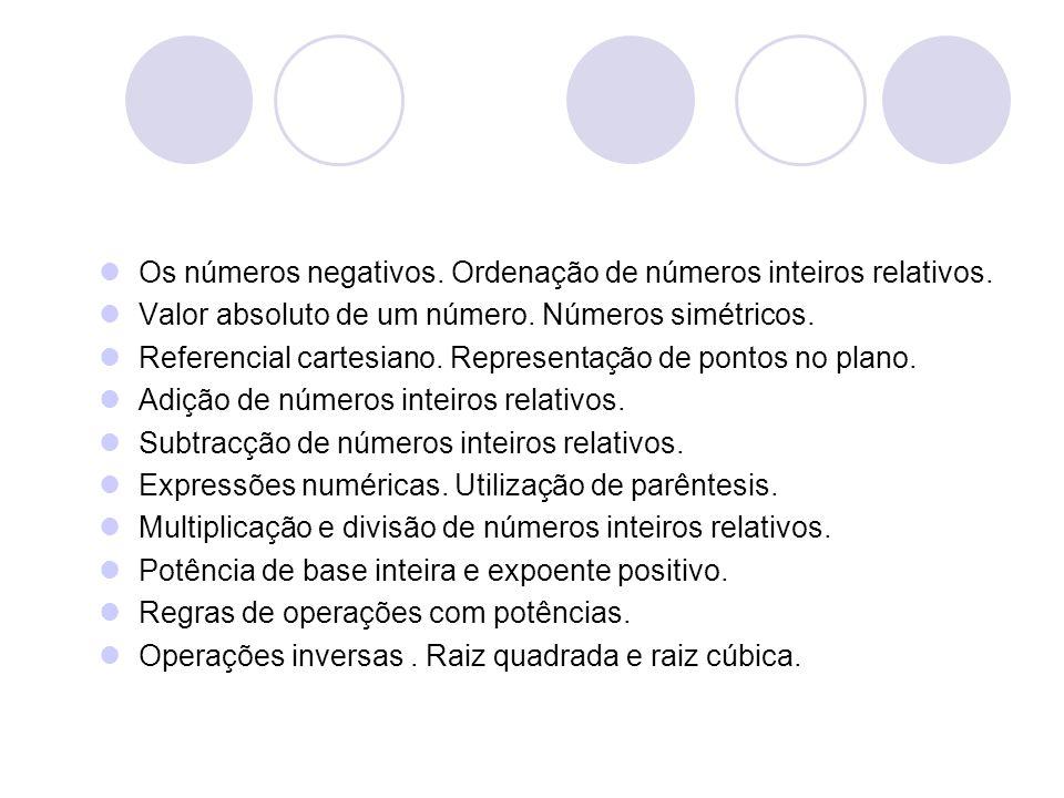 Os números negativos. Ordenação de números inteiros relativos. Valor absoluto de um número. Números simétricos. Referencial cartesiano. Representação