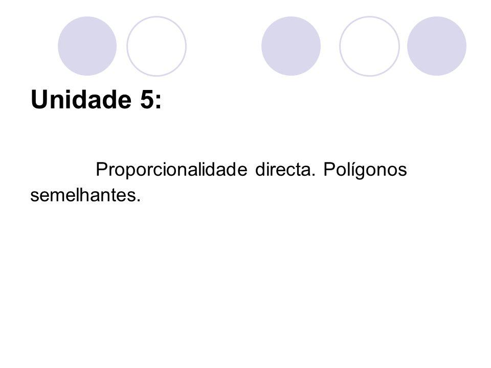 Unidade 5: Proporcionalidade directa. Polígonos semelhantes.