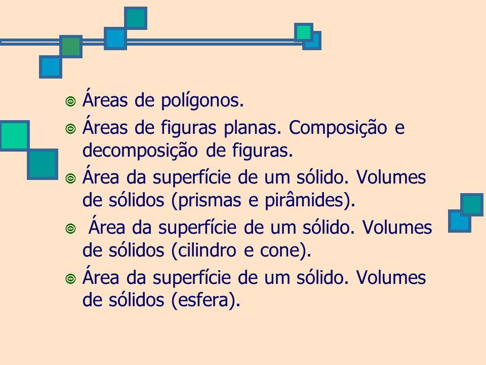 Áreas de polígonos. Áreas de figuras planas. Composição e decomposição de figuras. Área da superfície de um sólido. Volumes de sólidos (prismas e pirâ