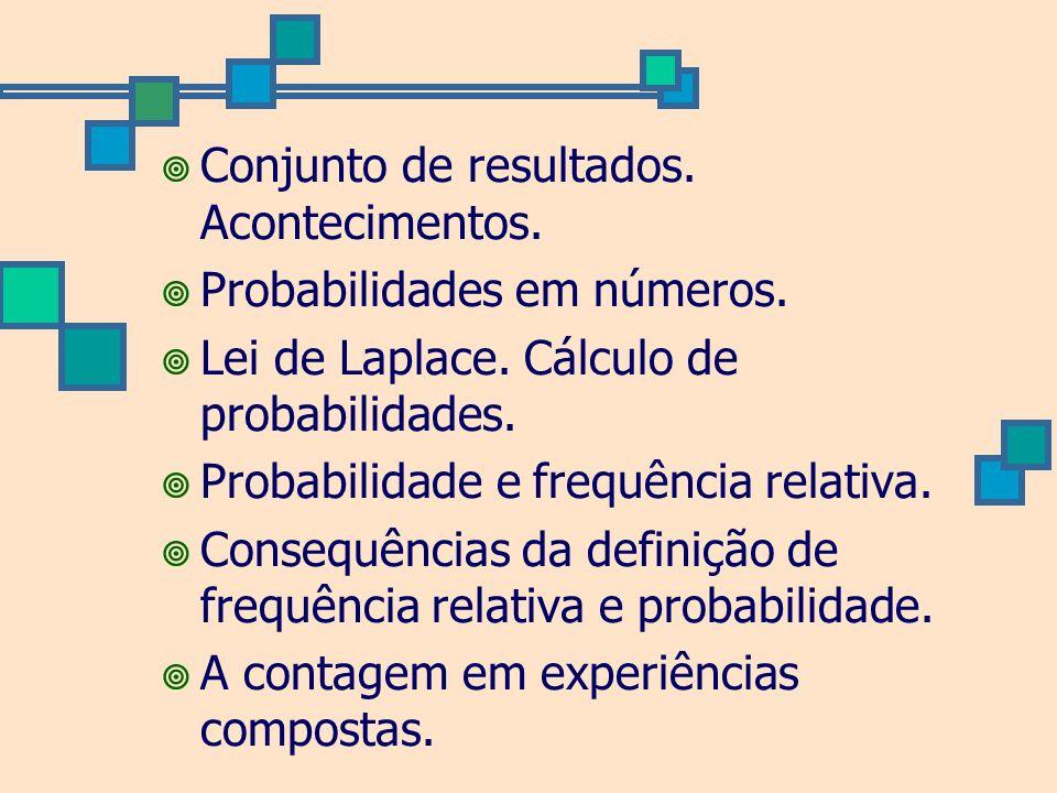 Conjunto de resultados. Acontecimentos. Probabilidades em números. Lei de Laplace. Cálculo de probabilidades. Probabilidade e frequência relativa. Con