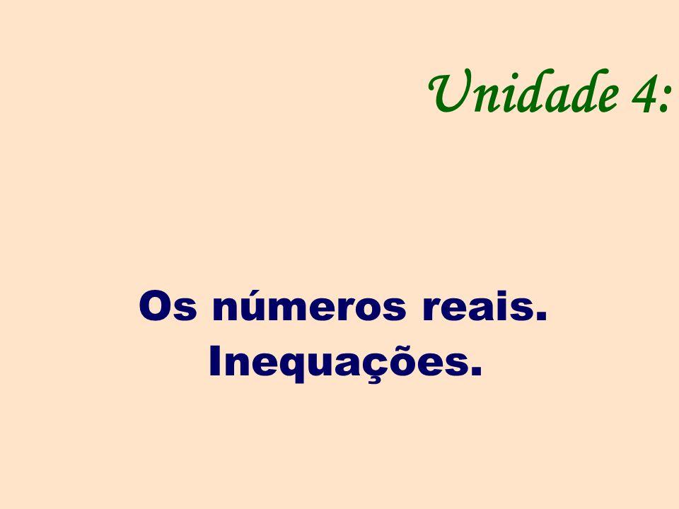 Unidade 4: Os números reais. Inequações.