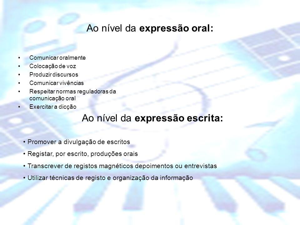 Escola Básica dos 2º e 3º Ciclos Dr. Manuel de Brito Camacho, Aljustrel Ao nível da expressão oral: Comunicar oralmente Colocação de voz Produzir disc