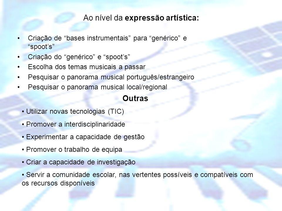 Escola Básica dos 2º e 3º Ciclos Dr. Manuel de Brito Camacho, Aljustrel Ao nível da expressão artística: Criação de bases instrumentais para genérico