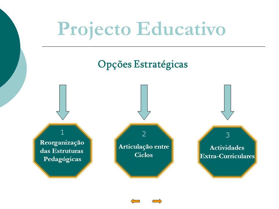 Projecto Educativo Opções Estratégicas Reorganização das Estruturas Pedagógicas Articulação entre Ciclos Actividades Extra-Curriculares 1 3 2