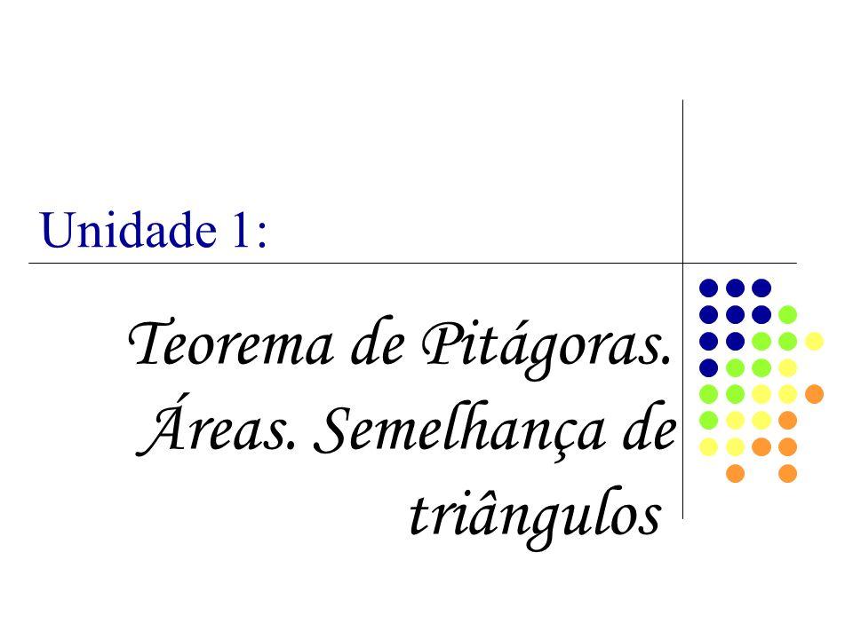 Teorema de Pitágoras. Áreas. Semelhança de triângulos. Unidade 1: