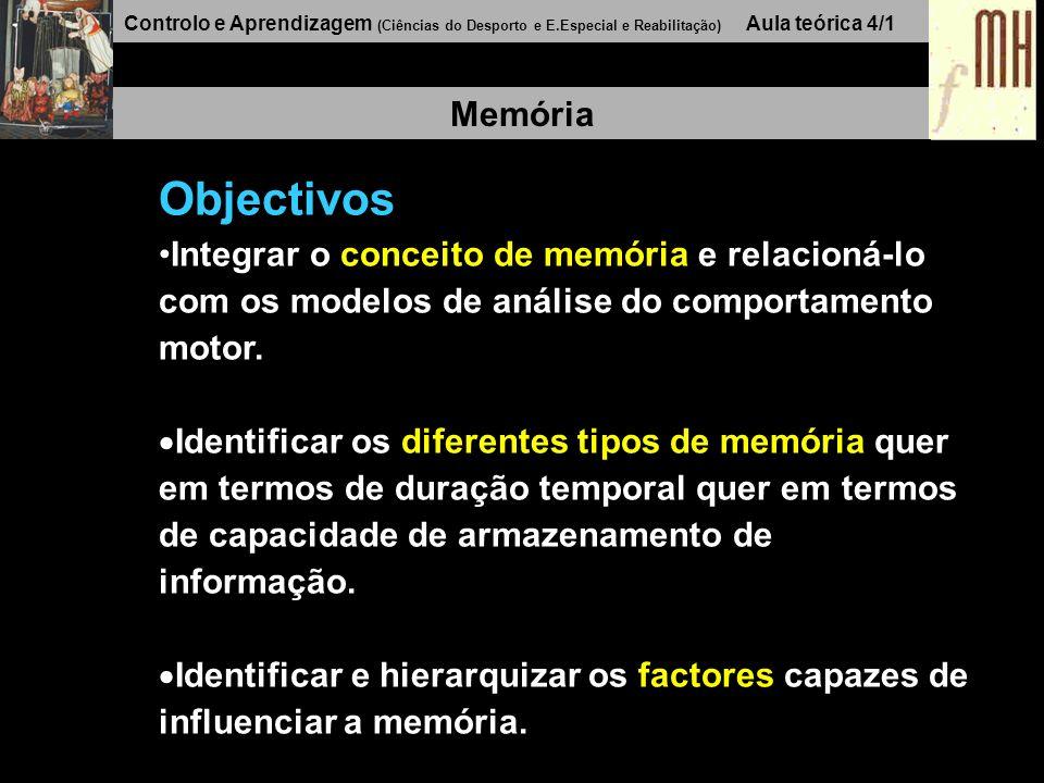 Controlo e Aprendizagem (Ciências do Desporto e E.Especial e Reabilitação) Aula teórica 4/1 Memória Objectivos Integrar o conceito de memória e relacioná-lo com os modelos de análise do comportamento motor.