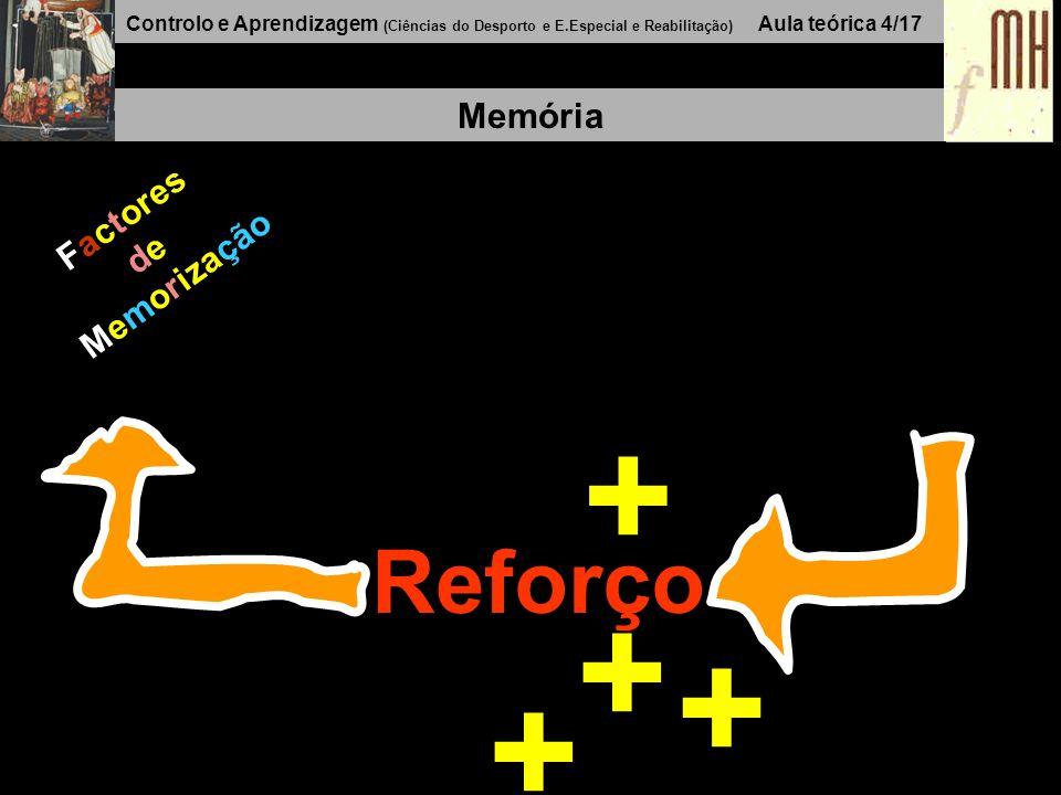 Controlo e Aprendizagem (Ciências do Desporto e E.Especial e Reabilitação) Aula teórica 4/17 Memória Factores de Memorização Reforço + + + +