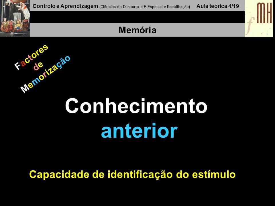 Controlo e Aprendizagem (Ciências do Desporto e E.Especial e Reabilitação) Aula teórica 4/19 Memória Factores de Memorização Conhecimento anterior Cap