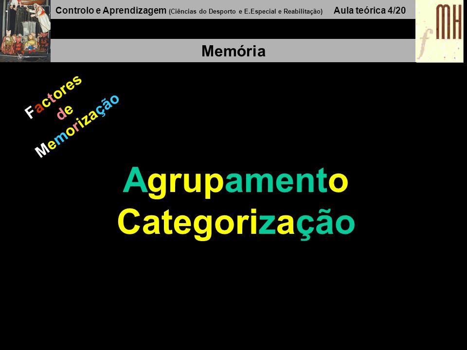 Controlo e Aprendizagem (Ciências do Desporto e E.Especial e Reabilitação) Aula teórica 4/20 Memória Factores de Memorização Agrupamento Categorização
