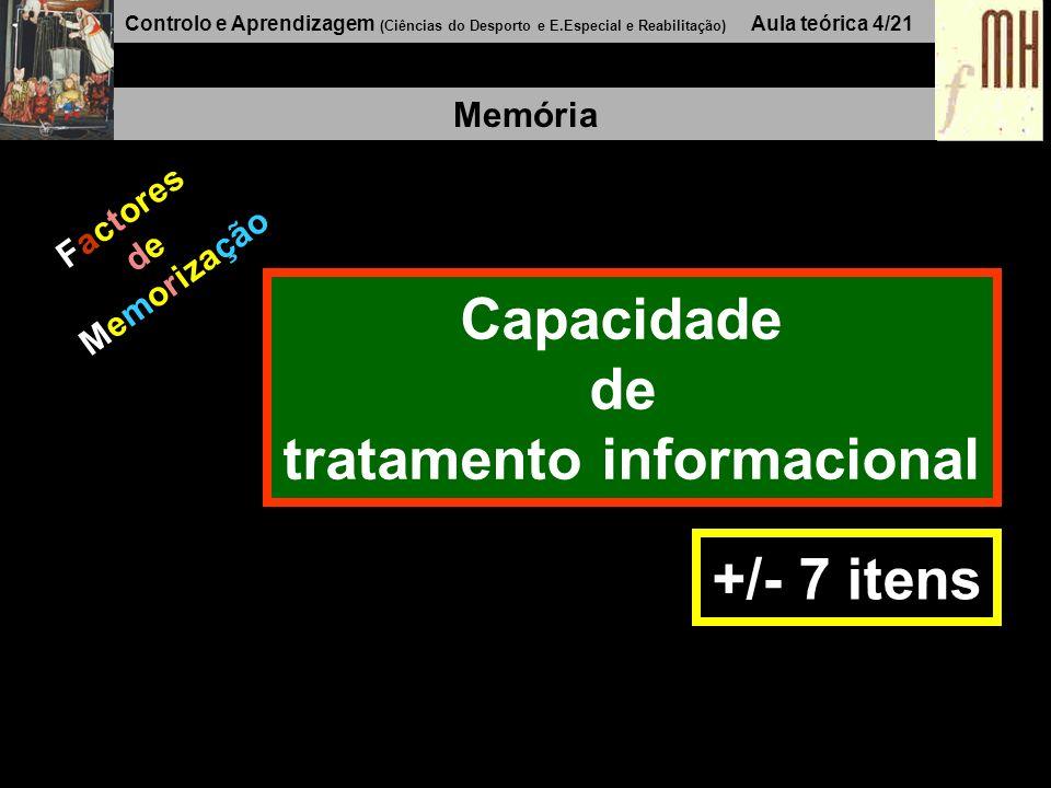 Controlo e Aprendizagem (Ciências do Desporto e E.Especial e Reabilitação) Aula teórica 4/21 Memória Factores de Memorização Capacidade de tratamento informacional +/- 7 itens