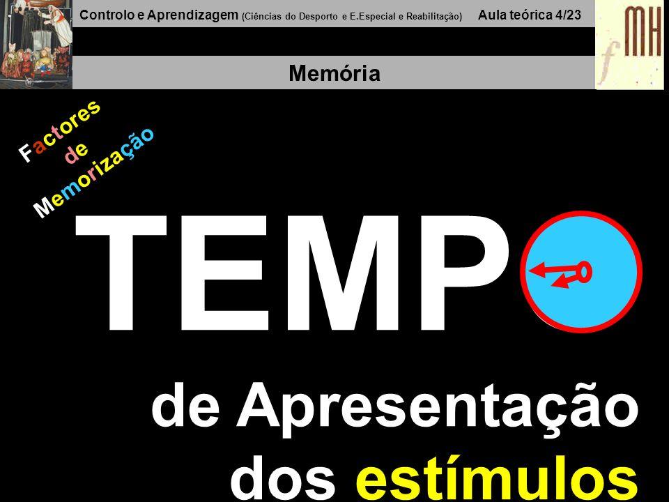 Controlo e Aprendizagem (Ciências do Desporto e E.Especial e Reabilitação) Aula teórica 4/23 Memória Factores de Memorização TEMPO de Apresentação dos estímulos
