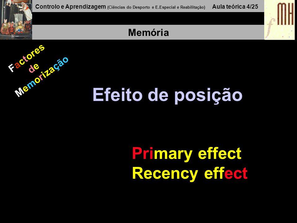 Controlo e Aprendizagem (Ciências do Desporto e E.Especial e Reabilitação) Aula teórica 4/25 Memória Factores de Memorização Efeito de posição Primary