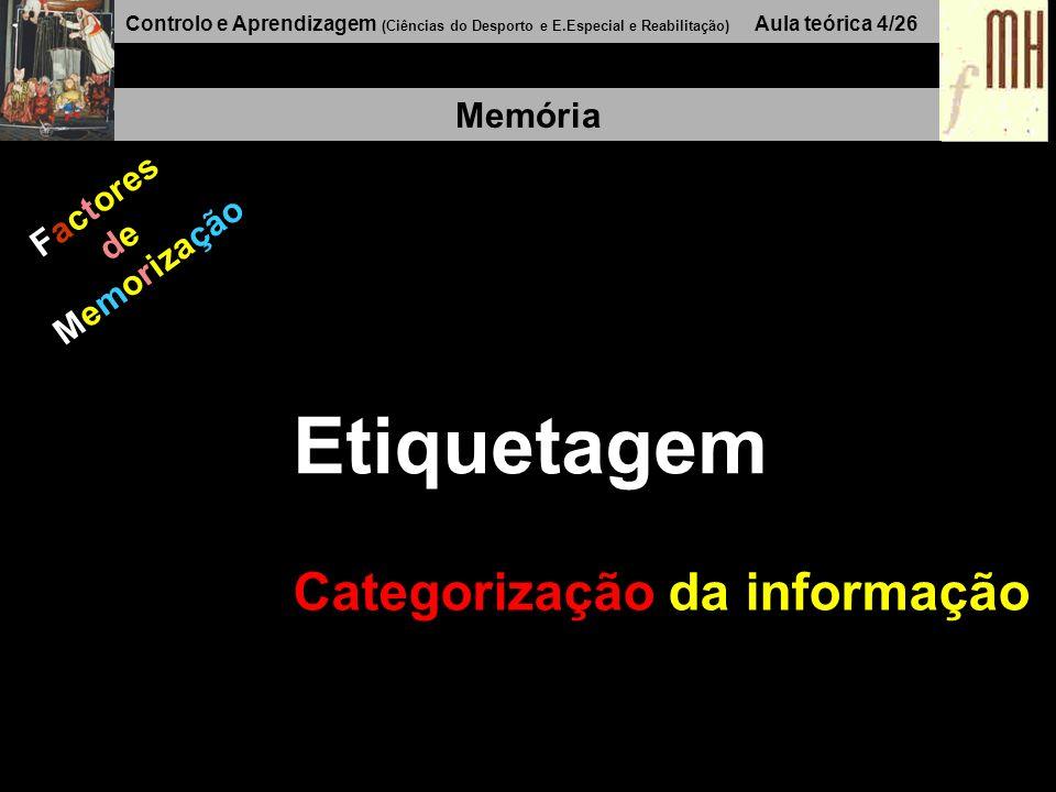 Controlo e Aprendizagem (Ciências do Desporto e E.Especial e Reabilitação) Aula teórica 4/26 Memória Factores de Memorização Etiquetagem Categorização da informação