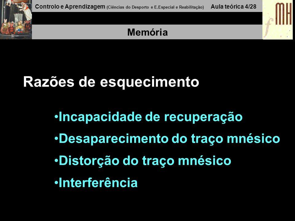 Controlo e Aprendizagem (Ciências do Desporto e E.Especial e Reabilitação) Aula teórica 4/28 Memória Razões de esquecimento Incapacidade de recuperaçã