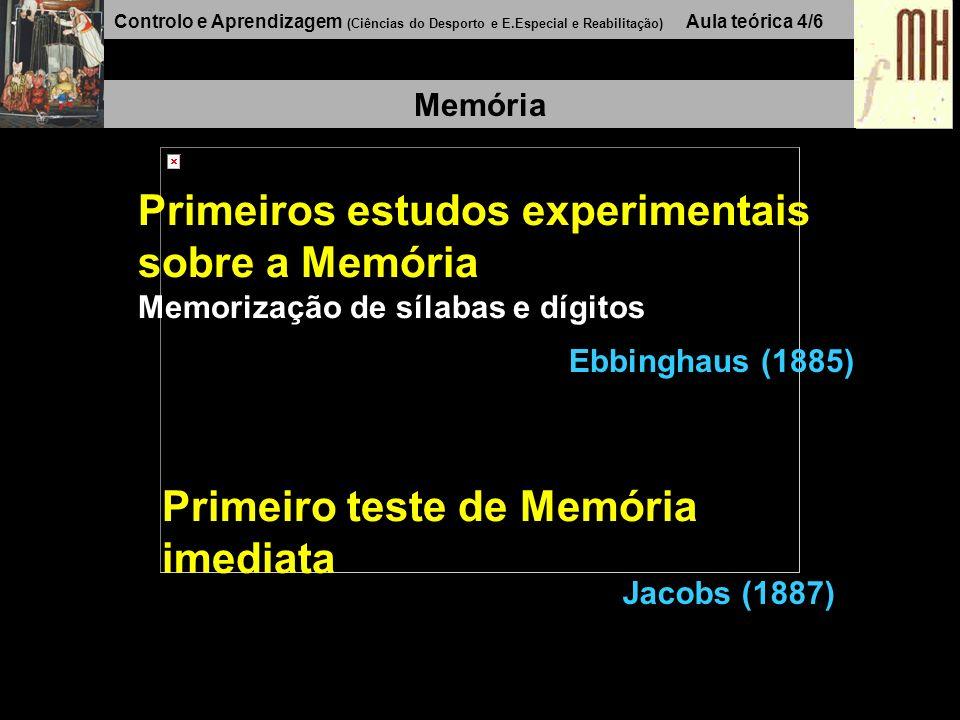 Controlo e Aprendizagem (Ciências do Desporto e E.Especial e Reabilitação) Aula teórica 4/6 Memória Ebbinghaus (1885) Primeiros estudos experimentais