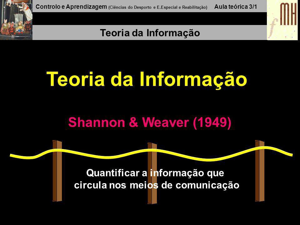 Controlo e Aprendizagem (Ciências do Desporto e E.Especial e Reabilitação) Aula teórica 3/1 Teoria da Informação Shannon & Weaver (1949) Quantificar a informação que circula nos meios de comunicação