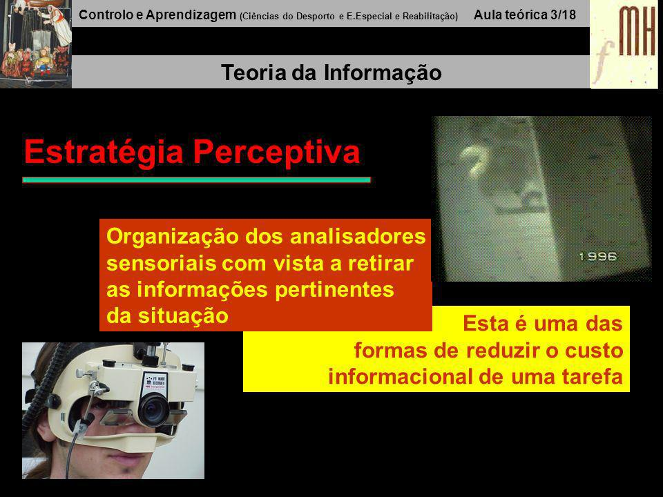 Controlo e Aprendizagem (Ciências do Desporto e E.Especial e Reabilitação) Aula teórica 3/17 Teoria da Informação O processamento informacional implic
