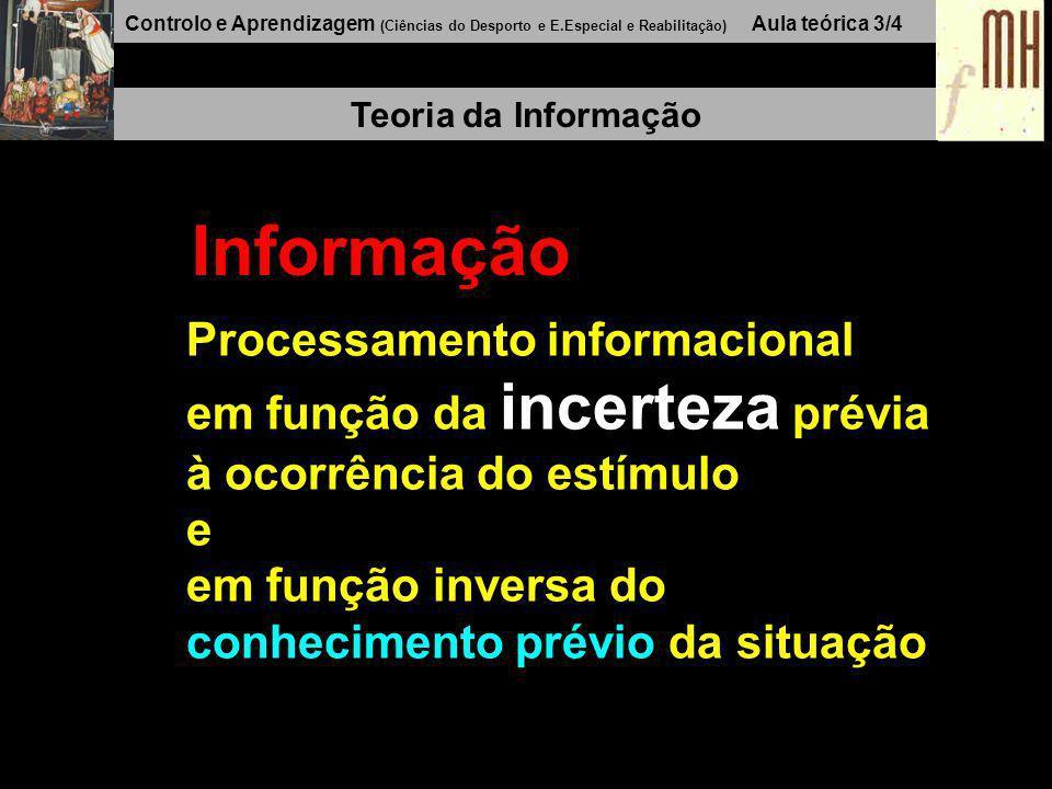 Controlo e Aprendizagem (Ciências do Desporto e E.Especial e Reabilitação) Aula teórica 3/3 Teoria da Informação Estímulo + Conhecimento prévio - Info