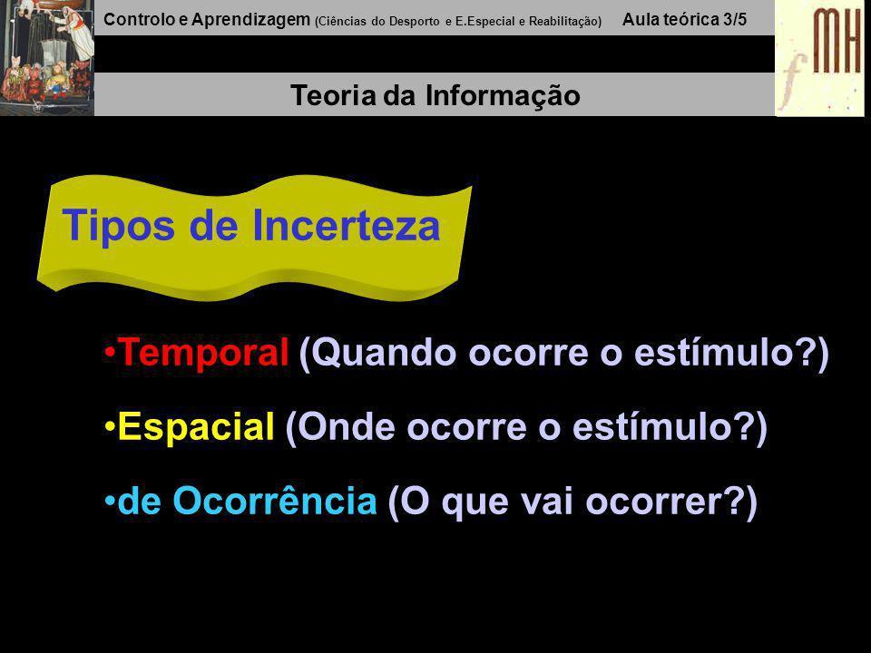 Controlo e Aprendizagem (Ciências do Desporto e E.Especial e Reabilitação) Aula teórica 3/5 Teoria da Informação Tipos de Incerteza Temporal (Quando ocorre o estímulo?) Espacial (Onde ocorre o estímulo?) de Ocorrência (O que vai ocorrer?)