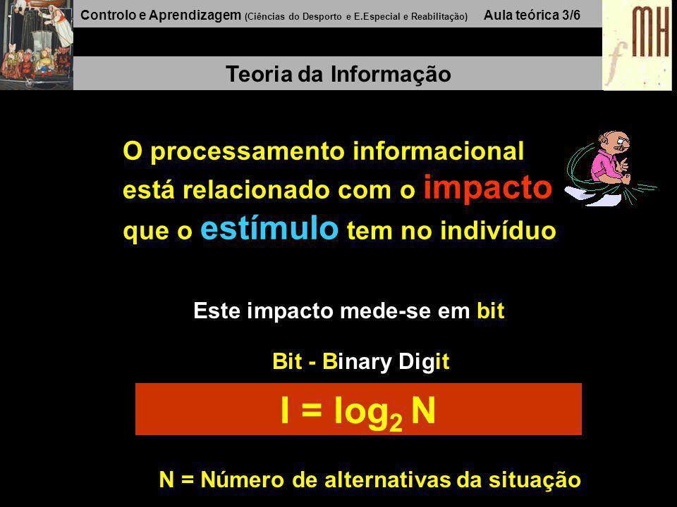 Controlo e Aprendizagem (Ciências do Desporto e E.Especial e Reabilitação) Aula teórica 3/6 Teoria da Informação O processamento informacional está relacionado com o impacto que o estímulo tem no indivíduo Este impacto mede-se em bit Bit - Binary Digit I = log 2 N N = Número de alternativas da situação