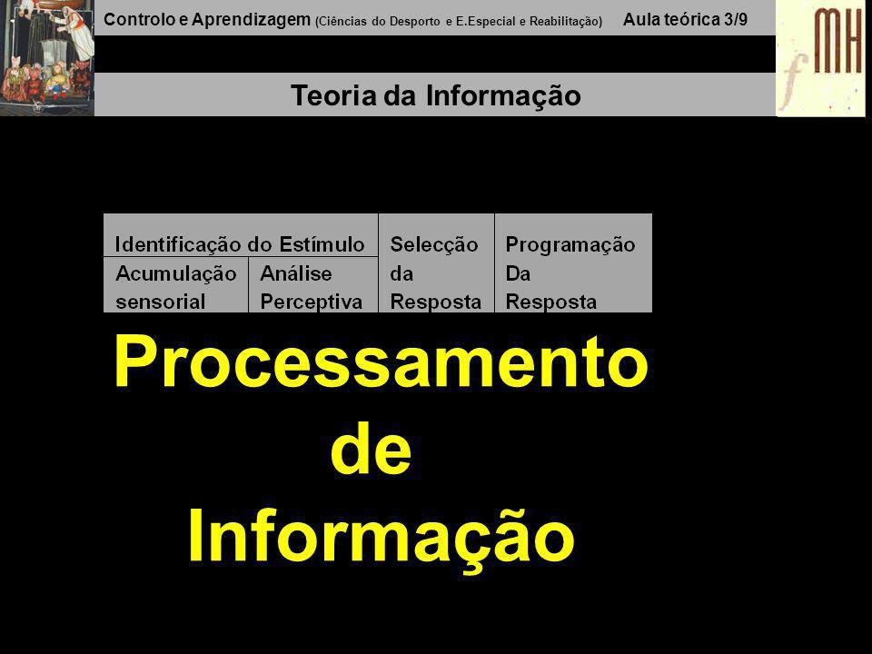 Controlo e Aprendizagem (Ciências do Desporto e E.Especial e Reabilitação) Aula teórica 3/8 Teoria da Informação Input Processamento Output Modelo Fechado Feedback