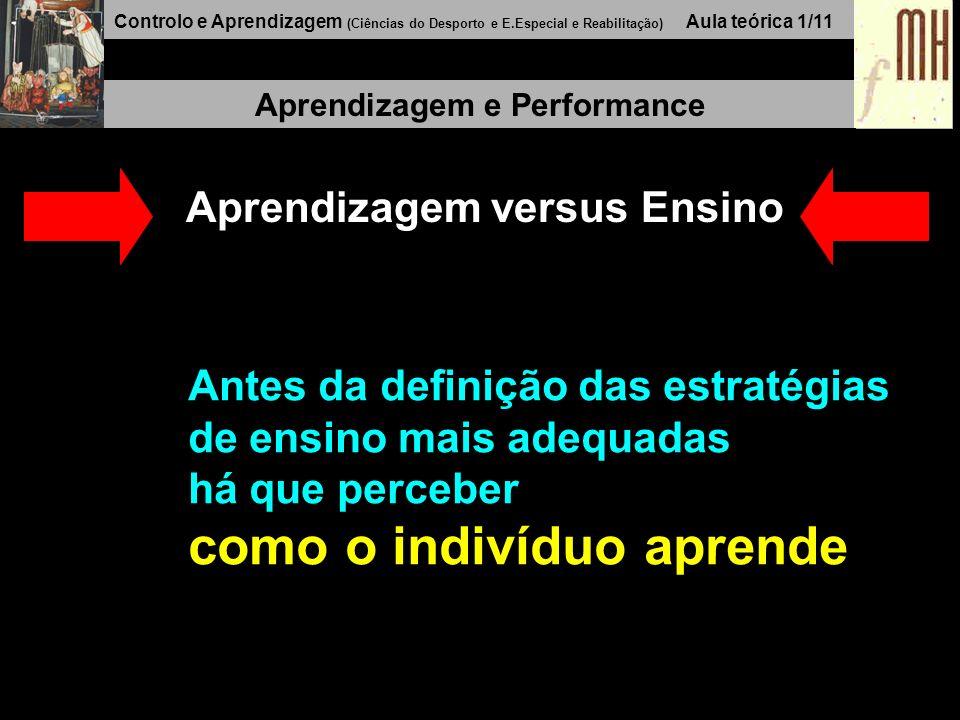 Controlo e Aprendizagem (Ciências do Desporto e E.Especial e Reabilitação) Aula teórica 1/11 Aprendizagem e Performance Aprendizagem versus Ensino Antes da definição das estratégias de ensino mais adequadas há que perceber como o indivíduo aprende