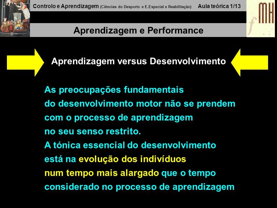 Controlo e Aprendizagem (Ciências do Desporto e E.Especial e Reabilitação) Aula teórica 1/13 Aprendizagem e Performance Aprendizagem versus Desenvolvimento As preocupações fundamentais do desenvolvimento motor não se prendem com o processo de aprendizagem no seu senso restrito.