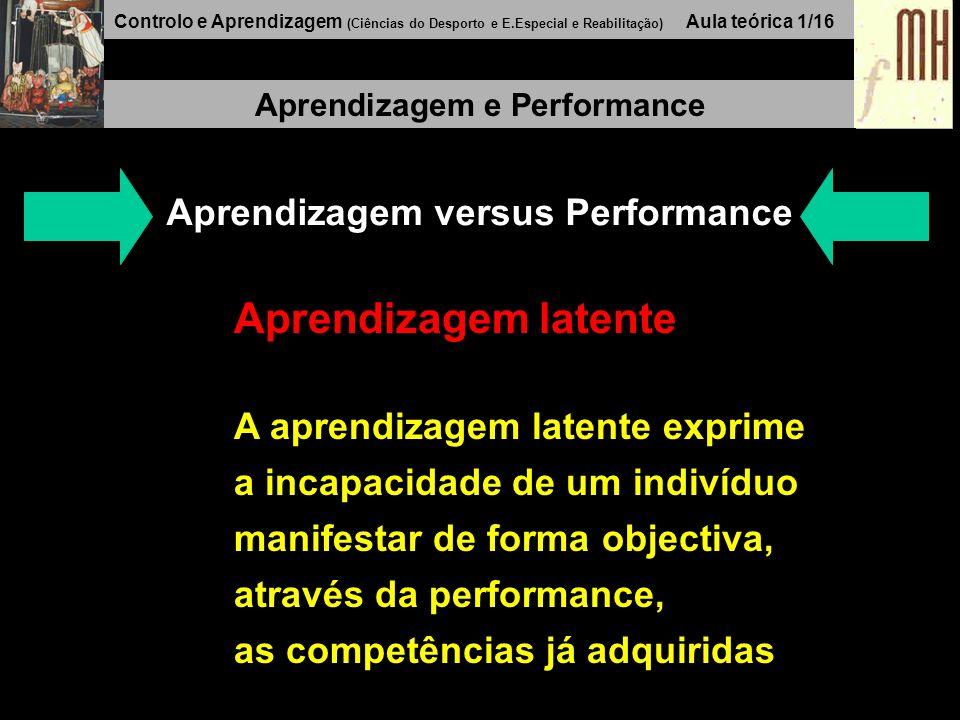 Controlo e Aprendizagem (Ciências do Desporto e E.Especial e Reabilitação) Aula teórica 1/16 Aprendizagem e Performance Aprendizagem versus Performance Aprendizagem latente A aprendizagem latente exprime a incapacidade de um indivíduo manifestar de forma objectiva, através da performance, as competências já adquiridas