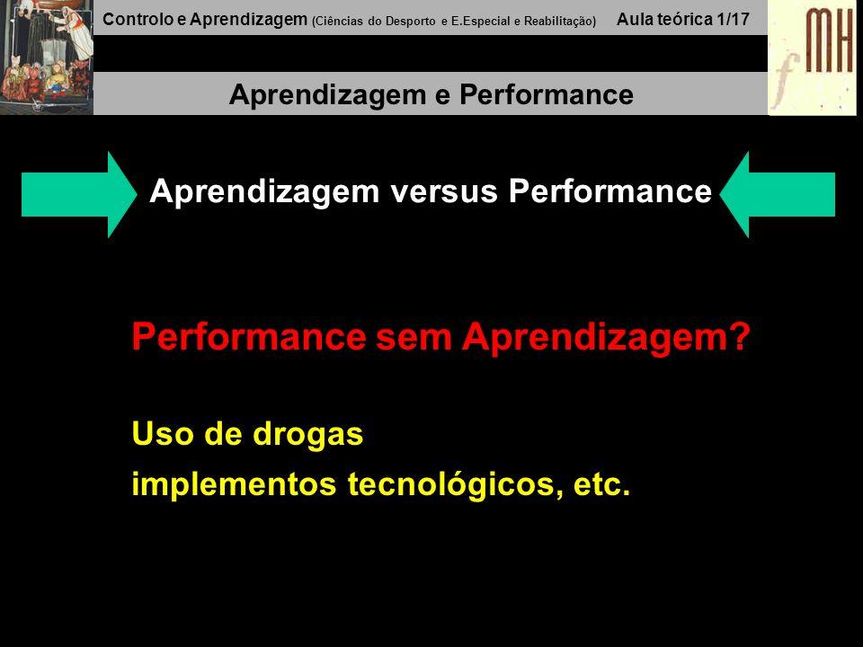 Controlo e Aprendizagem (Ciências do Desporto e E.Especial e Reabilitação) Aula teórica 1/17 Aprendizagem e Performance Aprendizagem versus Performance Performance sem Aprendizagem.