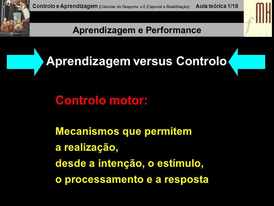 Controlo e Aprendizagem (Ciências do Desporto e E.Especial e Reabilitação) Aula teórica 1/18 Aprendizagem e Performance Aprendizagem versus Controlo Controlo motor: Mecanismos que permitem a realização, desde a intenção, o estímulo, o processamento e a resposta