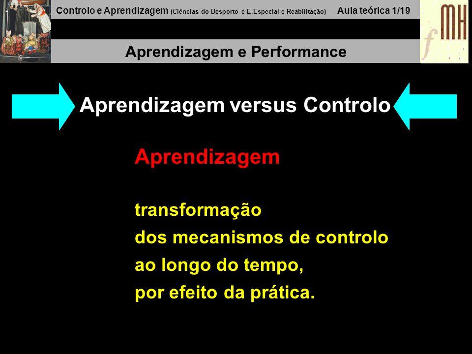 Controlo e Aprendizagem (Ciências do Desporto e E.Especial e Reabilitação) Aula teórica 1/19 Aprendizagem e Performance Aprendizagem versus Controlo Aprendizagem transformação dos mecanismos de controlo ao longo do tempo, por efeito da prática.