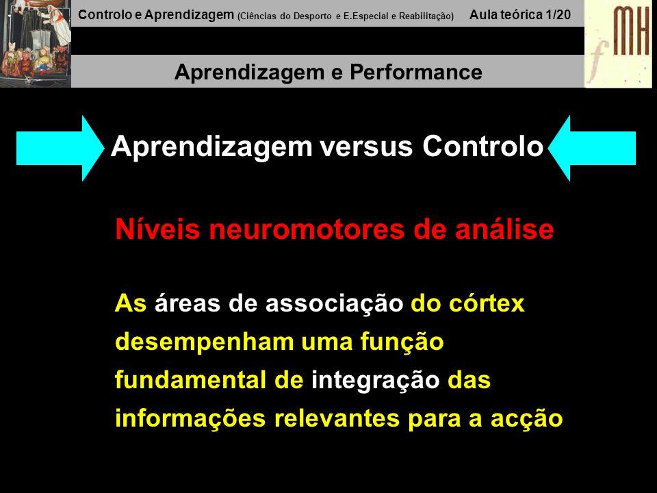Controlo e Aprendizagem (Ciências do Desporto e E.Especial e Reabilitação) Aula teórica 1/20 Aprendizagem e Performance Aprendizagem versus Controlo Níveis neuromotores de análise As áreas de associação do córtex desempenham uma função fundamental de integração das informações relevantes para a acção